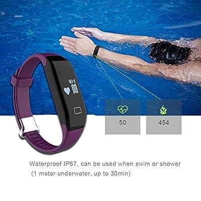 Mofek Heart Rate Monitor Fitness Tracker,Waterproof Bluetooth Smart Watch Pedometer Bracelet Smartband Sport Wristband - Purple