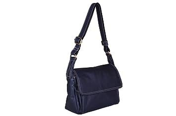 244e11312baea Image Unavailable. Image not available for. Colour  Avorio Women s Italian  Soft Navy Blue Leather Shoulder Bag ...