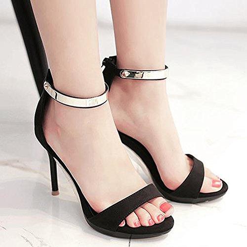 Hauts Cheville Femme Inconnu Sandales Résistant Métallique Chaussure Rond Noir Bout Escarpin Talons Bride Mode Travail dqSqtRwB0