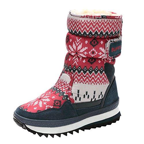 Sibba Schneestiefel Thermostiefel wasserdichte Stiefel mit Nylongewebe gefüttert für Damen und Mädchen Rot