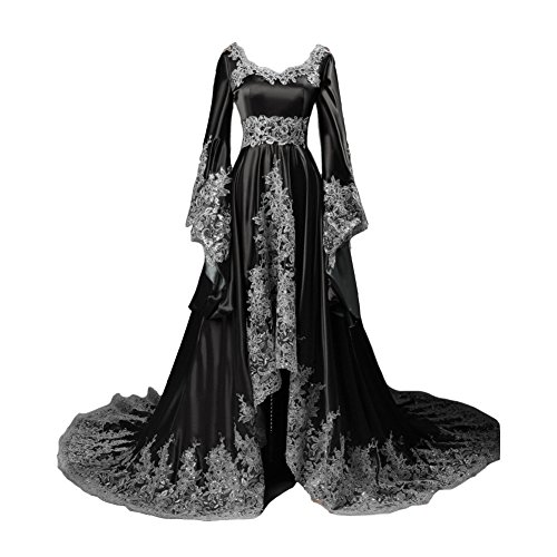 ge A Line Gothic Prom Evening Dresses Beaded Sequins Corset Black US 20W ()