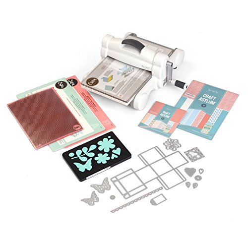 Sizzix Big Shot Plus Starter Kit Manual Die Cutting and Embossing Machine with Thinlits Plus and Bigz L Dies, Embossing Folder and Cardstock, 9 In (21 Cm) - Cutting System Magnetic