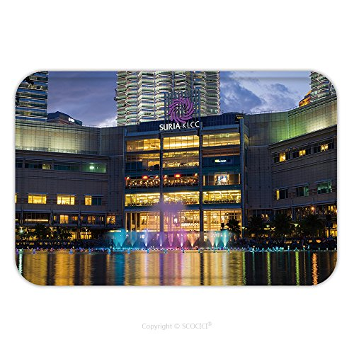 Flannel Microfiber Non-slip Rubber Backing Soft Absorbent Doormat Mat Rug Carpet Colorful Fountain Show With Music In Front Of Suria Mall_532975300 for - Mall Shaw