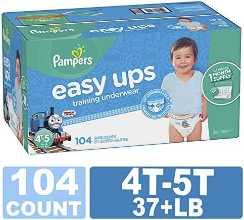 Pampers Easy Ups Training Pants Pull On Disposable Diapers for Boys,4T-5T, 104 Count, ONE Month Supply