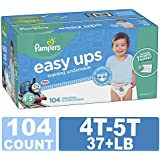 Pampers Easy Ups Training Pants Pull On Disposable Diapers for Boys, Size 6 (4T-5T), 104 Count, ONE Month Supply