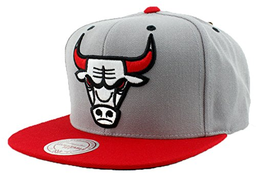 Chicago Bulls Hat SPECIAL Custom Undervisor Authentic NBA Mitchell & Ness XL Logo Snapback Cap Gray & Red Basketball Cap Adult One Size Unisex Men & Women eighty% Acrylic, 20% Wool – DiZiSports Store