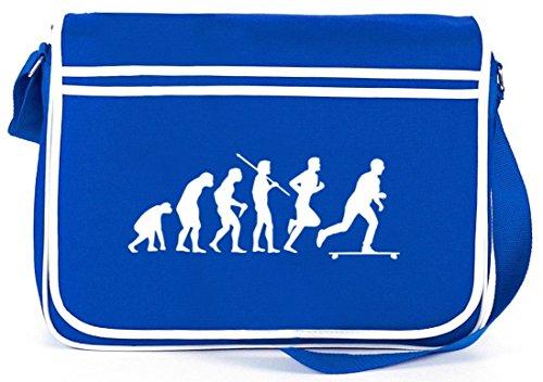 Shirtstreet24, Evolution Longboard, Skateboard Retro Messenger Bag Kuriertasche Umhängetasche Royal Blau