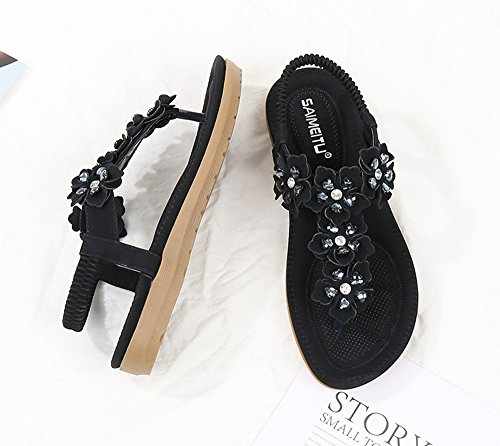 Flop Sandals Black Flip Summer Womens Rhinestone Bohemian Flat Flower Shoes Og5z5wqYx