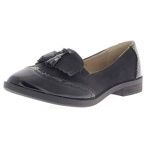 Aspecto Negro Barnizado con Mocasines de Flecos y borlas de Cuero y Pisos Matt: Amazon.es: Zapatos y complementos