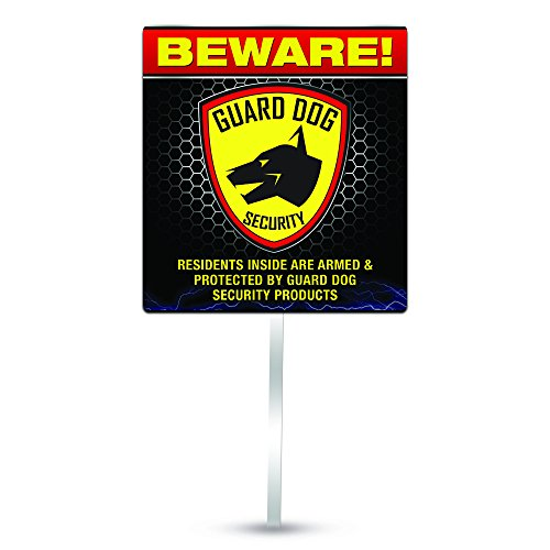 Guard Dog Security Preventive Reflective Yard Sign with Aluminum Pole