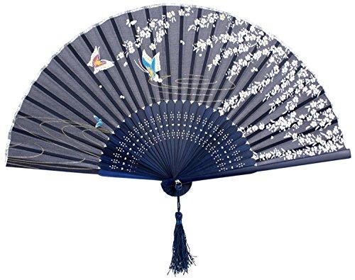 [BIGOCT 265D 265D2 Japanese Handheld Blue Butterfly Folding Fan Silk Handheld Folding Fan .,Dark Blue,One] (Fan Costumes)