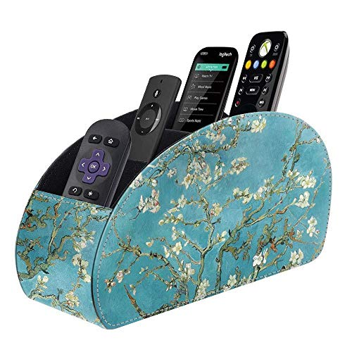 Blue_Bright Leather Remote Control Holder Stand Storage Organizer TV Caddy Desktop Blossom Color