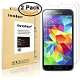 [2 Pack] Galaxy S5 / S5 Neo Screen Protector- iVoler Premium Tempered Glass Screen Protector for Samsung Galaxy S5 / S5 Neo - 0.2mm Ballistics Glass, 2.5D Round Edge, 9H Hardness Featuring Anti-Scratch, Anti-Fingerprint, Bubble Free- Lifetime Replacement Warranty