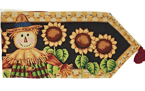 Tache Home Fashion Sunflower Field Scarecrow Thanksgiving Autumn Harvest Country Farmhouse Vintage Decorative Woven Tapestry Table Runners, 13x72, Black; Yellow