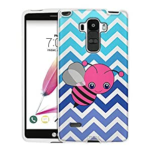 LG G Stylo Case, Snap On Cover by Trek Chevron Teal Blue Bee White Case