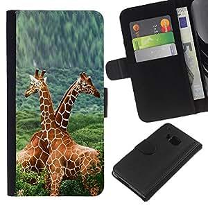 LECELL--Cuero de la tarjeta la carpeta del tirón Smartphone Slots Protección Holder For HTC One M9 -- Doble Jirafas --