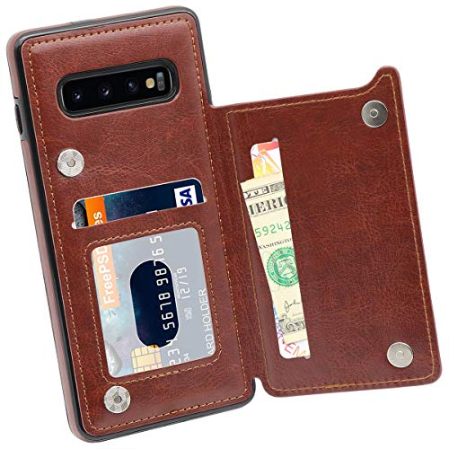 Galaxy S10 Plus Wallet Case, MMHUO Premium PU Leather Galaxy S10 Plus Case with Card Holder Double Magnetic Buttons Flip Shockproof Protective Cover for Samsung Galaxy S10 Plus 6.4