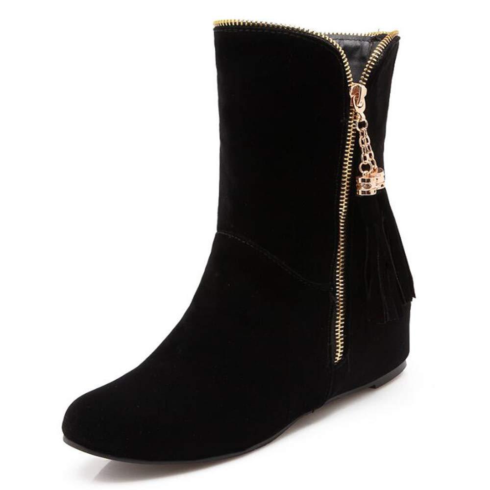 CITW Damenstiefel Fügen Große Große Große Stiefel Gefrostet Reißverschluss Tassel Damenstiefel Baumwoll Stiefel Nackte Stiefel,schwarz,UK5 EUR39 bbf002