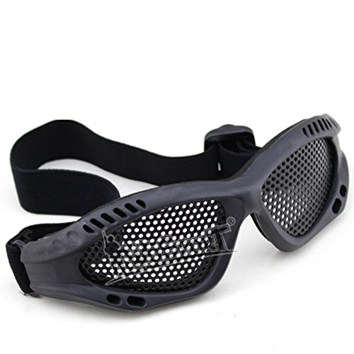 Cool BB Gun Steel Mesh Safety Airsoft Goggles - No Fog Protection Airsoft Glasses (Black Tan (500fps Airsoft Guns)