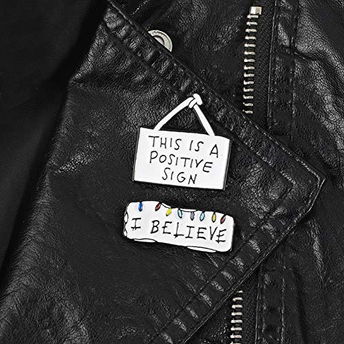 LFDHZ Set of 2 Stranger Things Enamel Pin I Believe Positive Sign Pins Brooches Backpack Bags Hats Leather -