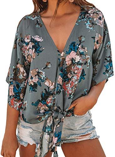 (Tiksawon Womens V Neck Floral Printed Tie Front Chiffon Blouses 3/4 Short Kimono Sleeve Trendy Summer Flowy Shirts Tops Green S)