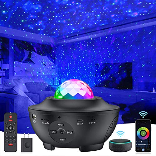 Star Projector 4 in 1 Smart WiFi Galaxy Projector Night Light w/ Alexa & Google Assistant, Ocean Wave Sky Star Light Projector w/ Smart Music Voice Control for Baby Kids Bedroom Game Room Home Decor