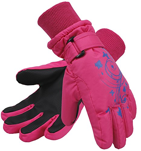 SimpliKids Girl's Waterproof 3M Thinsulate Winter Ski & Snowboard Gloves, Butterfly Print,S,Pink (Gloves Winter Girls)