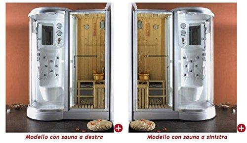 Box doccia idromassaggio con sauna finlandese incorporata