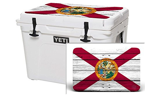 USA Tuff Thickest & Toughest Wrap 24Mil Cooler Accessories Decal for YETI 45QT Tundra Lid Kit -Florida Flag Wood