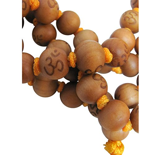 10mm 108 Peach Wood Beads Tibetan Buddhist Prayer Yoga Meditation Om Carved Mala /w Gift Pouch