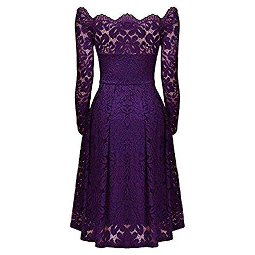 vestido larga fiesta mujeres de de AIMEE7 de vendimia escote vestido descubiertos vestido la mujer hombros las Vestido elegante coctel manga formal vestido Púrpura de fiesta de noche ZwgZq7Ca