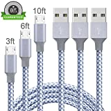 Micro USB Cable,YouHo 3Pack 3FT/6FT/10FT Long Premium Nylon Braided Android Charger USB to Micro USB Charging Cable Samsung Charger Cord for Samsung Galaxy S7 Edge/S7/S6/S4/S3,Note 5/4-GrayWhite