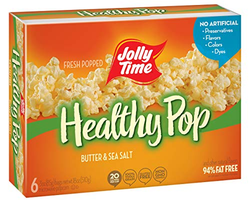 JOLLY TIME Healthy Pop Butter 94% Fat Free Microwave Popcorn, 6-Count Boxes (Pack of 6)