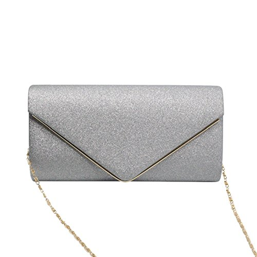 Women's Evening Purse Shining Clutch Bag Bling Chain Shoulder Bag Envelope Flapped by Jeniulet