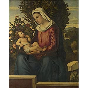 Oil Painting 'Italian North The Virgin And Child With Roses And Laurels' 8 x 10 inch / 20 x 26 cm , on High Definition HD canvas prints is for Gifts And Bar, Dining Room And Hallway decor, for life