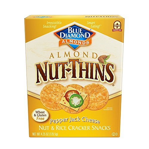 Thins Almond (Blue Diamond Almonds Nut Thins Cracker Crisps, Pepper Jack Cheese, 4.25 Ounce)