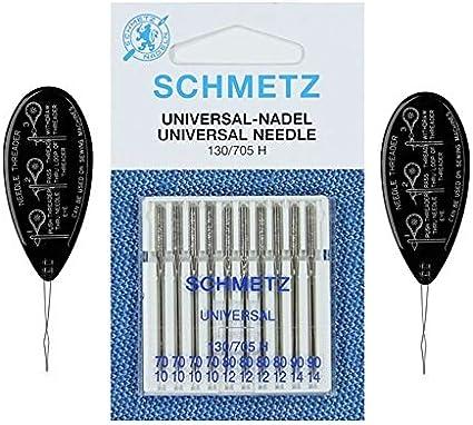 Schmetz - Agujas para máquina de coser (normal/estándar), varios tamaños 70/10, 80/12 y 90/14 (paquete de 10) Assorted 70-90 + 2 Threaders