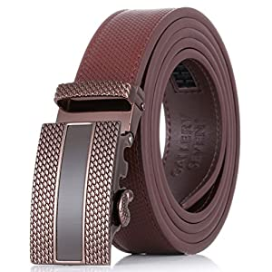 "Gallery Seven Leather Click Belt , Adjustable Ratchet Belt For Men, Automatic Dress Belt, - 1-Brown - Medium Up To Waist 44"""