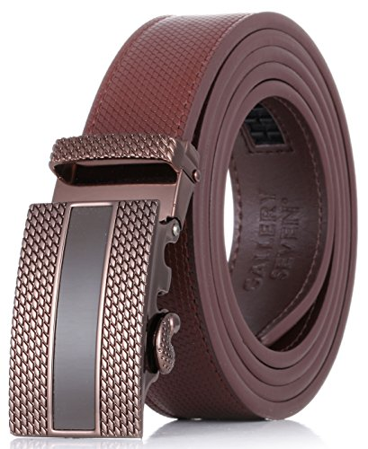 Gallery Seven Leather Click Belt , Adjustable Ratchet Belt For Men, Automatic Dress Belt, - 1-Brown - Medium Up To Waist 44""