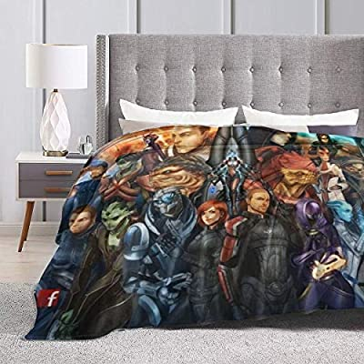 Mass Effect Cartoon All Characters Luxury Super Cozy Anti-Pilling Durable Warm Fleece Blanket,Heavyweight Anti-Shrink Cazy Fuzzy Big Blanket,All Seasons Anti-wrinkle Fluffy Microfiber Blankets 50