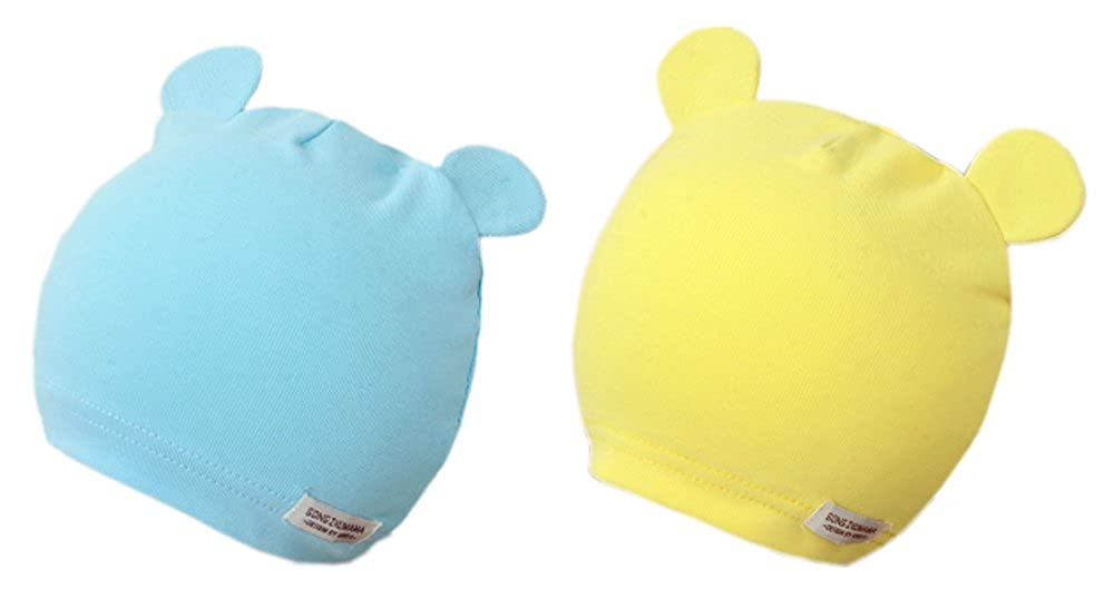GZMM Baby Newborn Beanie Hats Soft Cotton 2 Packs for Unisex Infant