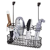 mDesign Over Door Bathroom Hair Care & Styling Tool Organizer Storage Basket for Hair Dryer, Flat Iron, Curling Wand, Hair Straighteners, Brushes - Hang Inside or Outside Cabinet Doors - Bronze
