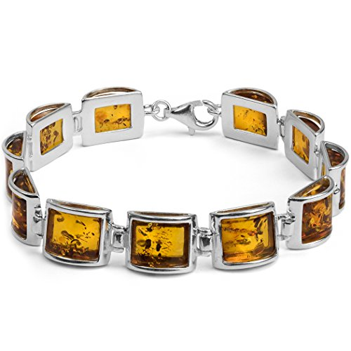 Sterling Silver Amber Modern Bracelet 7.5 Inches