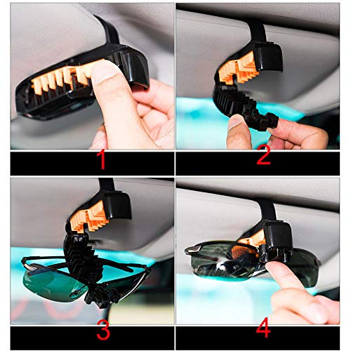 Glumes Sun Glasses Holder Clip for Car Sun Visor 3R Glasses Frame Glasses Clamp Soft Glue Protective Multi-Positioned Sunglasses Universal Clip Hanger with Card Ticket Clip