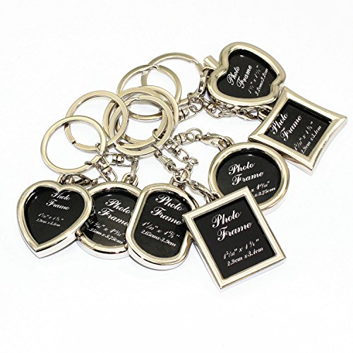 (M-W Fashion Keychain with Locket Photo Frame - Pack of 7, Varity of style - Insert Photo Picture Frame Key Ring Keychain Key holder)