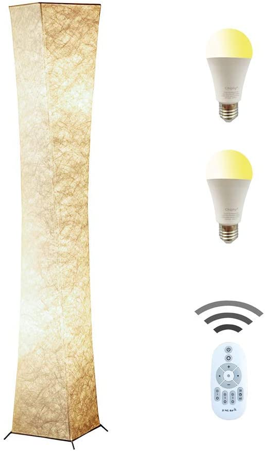 Floor Lamp, CHIPHY Tall Lamp, Dimmable and Adjustable Color Temperature 12W LED Bulbs and White Fabric Shade, with Remote Control, Standing Lamp for Bedroom, Living Room and Kids Room 64 10 10