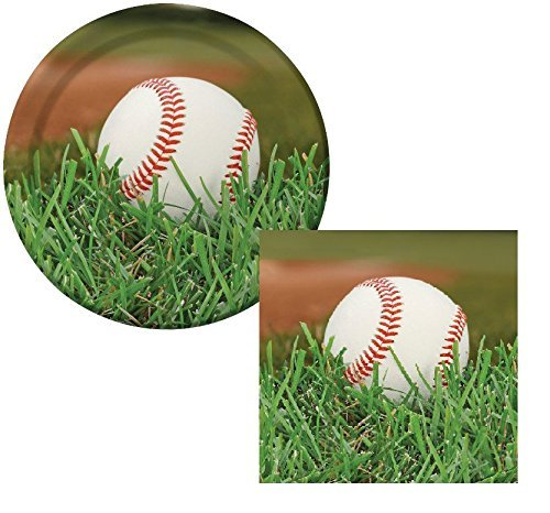 Baseball Sports Fanatic Lunch Plates & Napkins Party Kit for 8 (Sox Pitcher Set)