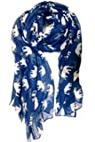 Hanson Gorgeous Grey Elephant Family Print Long Scarf Shawl Sarong (Blue)