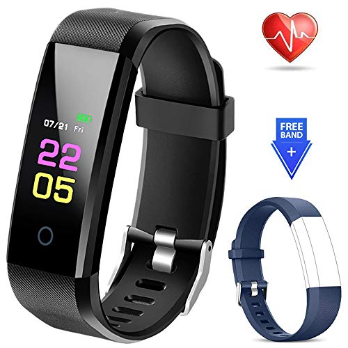(Fitness Tracker Waterproof - Fitness Watch with Heart Rate Blood Pressure Monitor, Activity Tracker with Sleep Monitor, Calorie Step Counter Smart Watch for Women Men Kids Compatible iPhone Android)