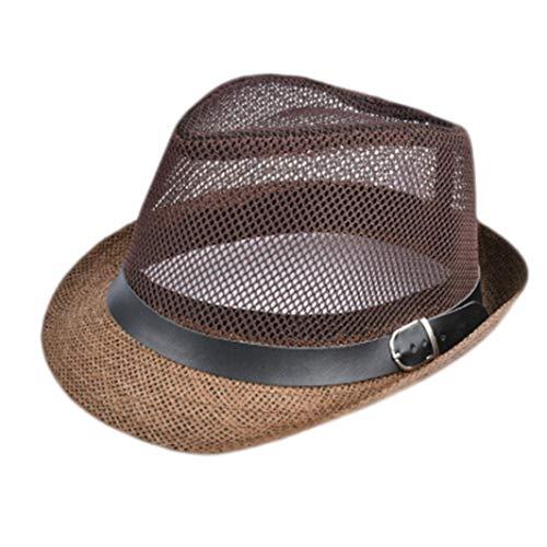 ROGEWIN Jazz Visor Cap for Gentleman Hat Plus Size Mesh Flat Homburg Beach Hat Gorras Summer Straw Bucket Hat ()